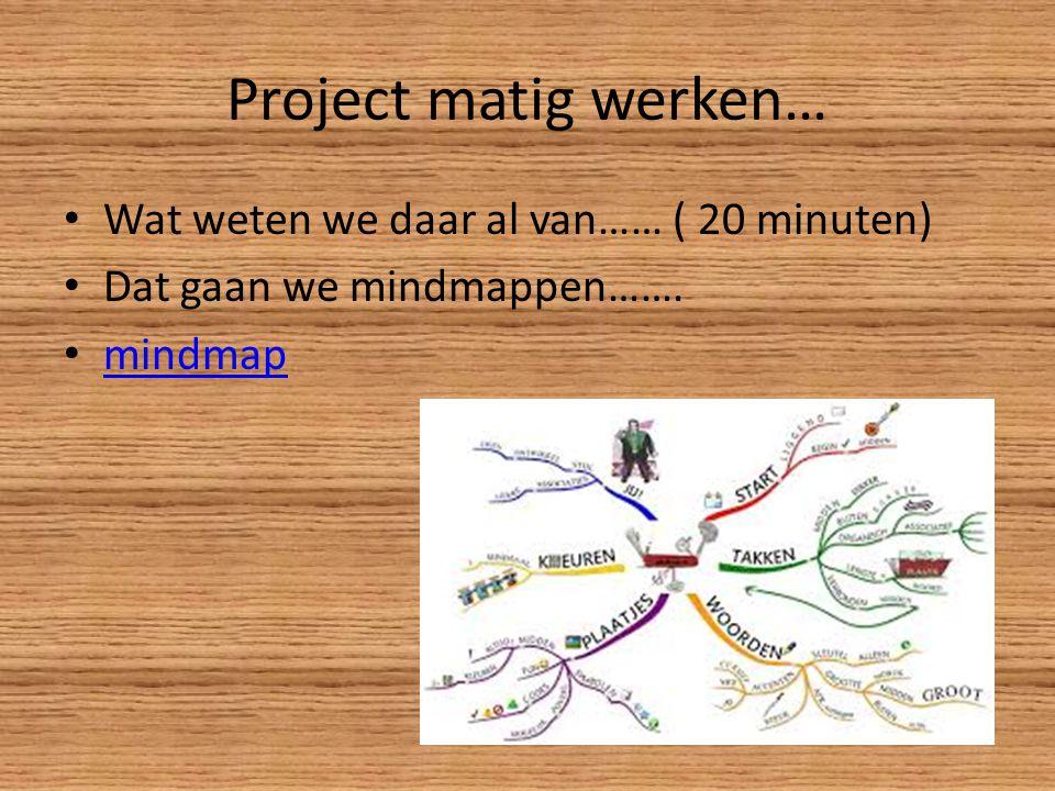 Project matig werken… Wat weten we daar al van…… ( 20 minuten) Dat gaan we mindmappen……. mindmap