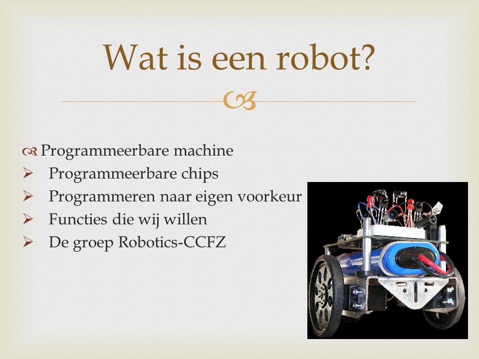   Programmeerbare machine  Programmeerbare chips  Programmeren naar eigen voorkeur  Functies die wij willen  De groep Robotics-CCFZ Wat is een r