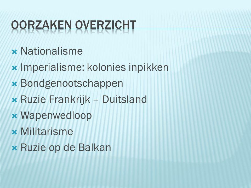  Nationalisme  Imperialisme: kolonies inpikken  Bondgenootschappen  Ruzie Frankrijk – Duitsland  Wapenwedloop  Militarisme  Ruzie op de Balkan