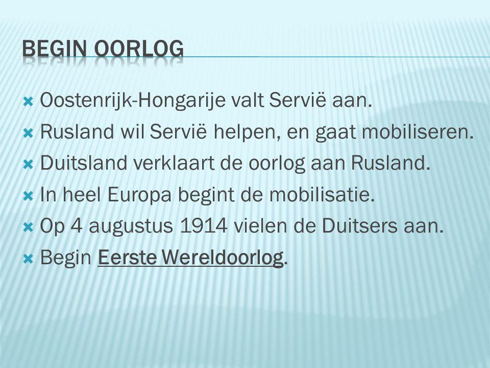  Oostenrijk-Hongarije valt Servië aan.  Rusland wil Servië helpen, en gaat mobiliseren.  Duitsland verklaart de oorlog aan Rusland.  In heel Europ