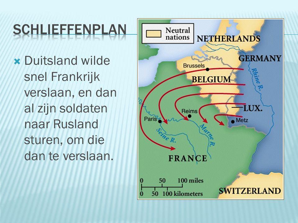  Duitsland wilde snel Frankrijk verslaan, en dan al zijn soldaten naar Rusland sturen, om die dan te verslaan.