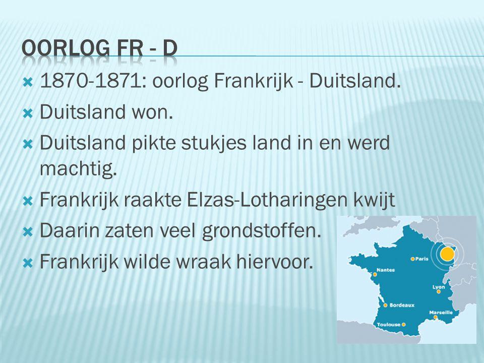  1870-1871: oorlog Frankrijk - Duitsland.  Duitsland won.  Duitsland pikte stukjes land in en werd machtig.  Frankrijk raakte Elzas-Lotharingen kw