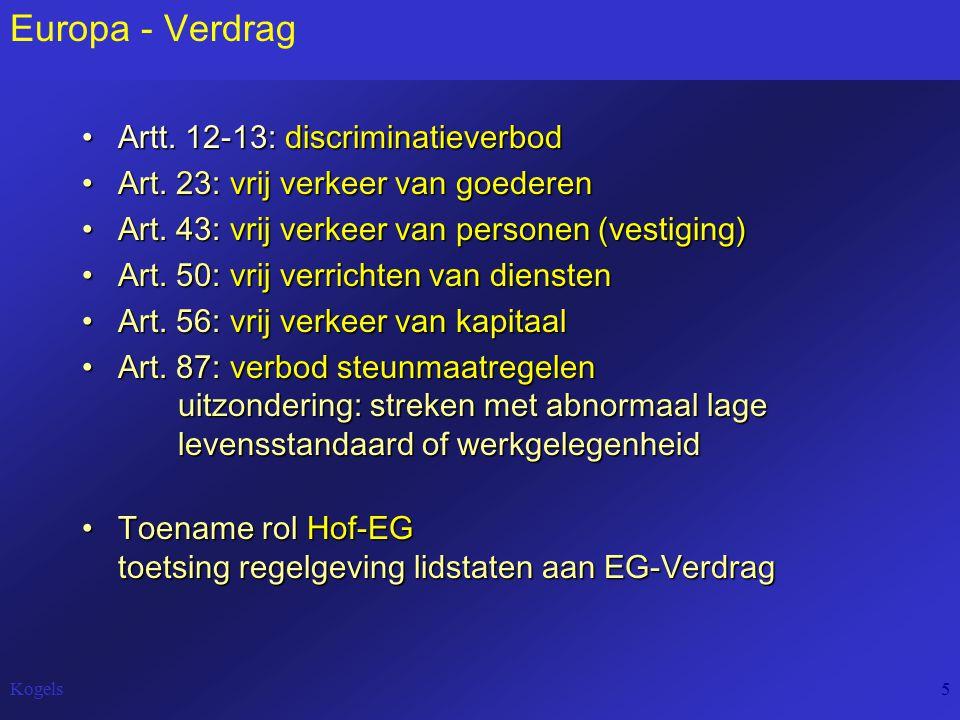 Kogels5 Europa - Verdrag Artt. 12-13: discriminatieverbodArtt. 12-13: discriminatieverbod Art. 23: vrij verkeer van goederenArt. 23: vrij verkeer van