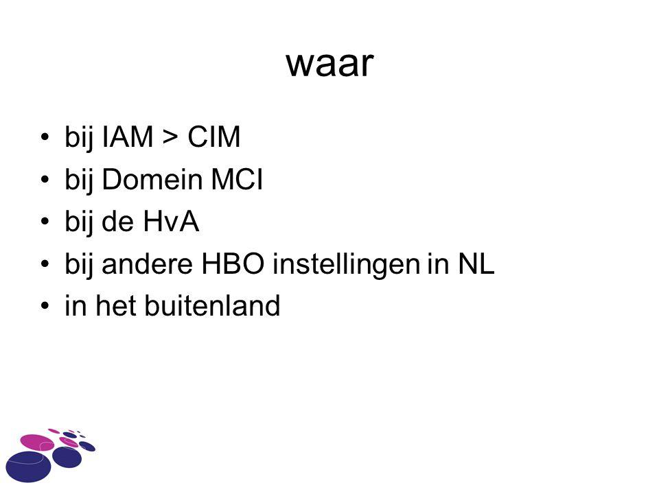 waar bij IAM > CIM bij Domein MCI bij de HvA bij andere HBO instellingen in NL in het buitenland