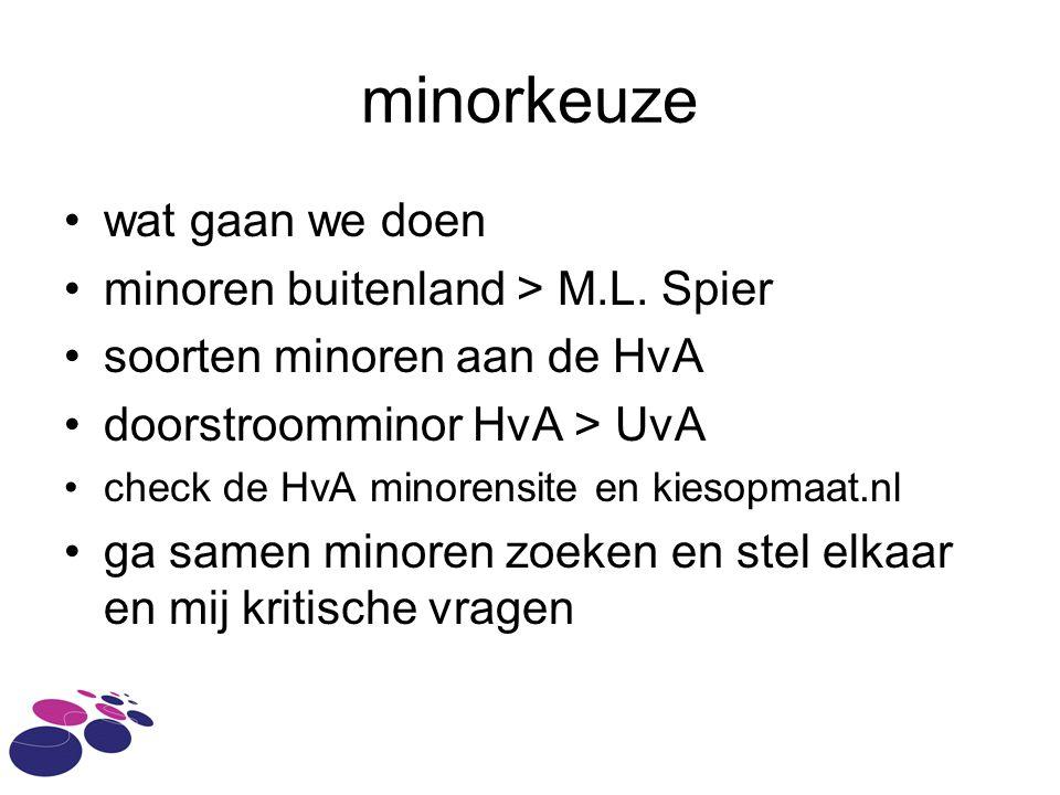 minorkeuze wat gaan we doen minoren buitenland > M.L.