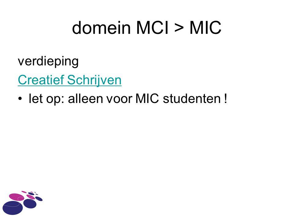 domein MCI > MIC verdieping Creatief Schrijven let op: alleen voor MIC studenten !