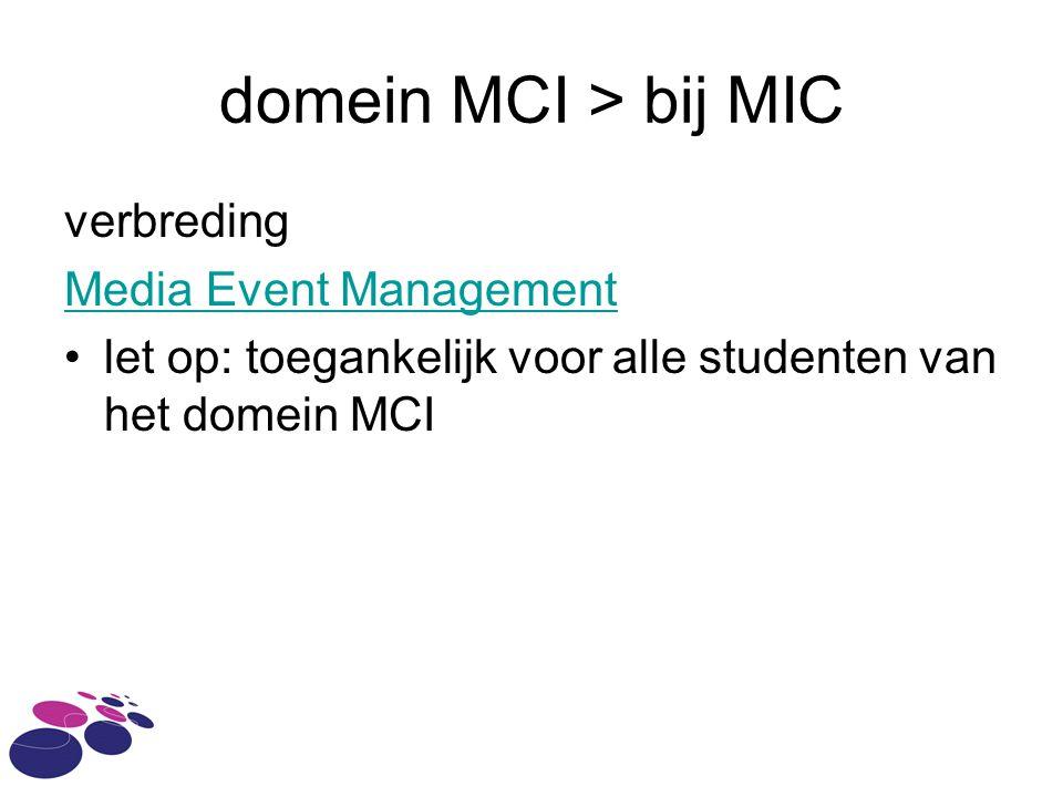 domein MCI > bij MIC verbreding Media Event Management let op: toegankelijk voor alle studenten van het domein MCI