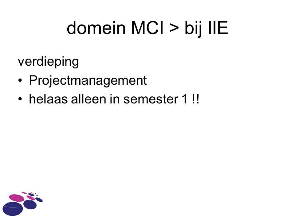 domein MCI > bij IIE verdieping Projectmanagement helaas alleen in semester 1 !!