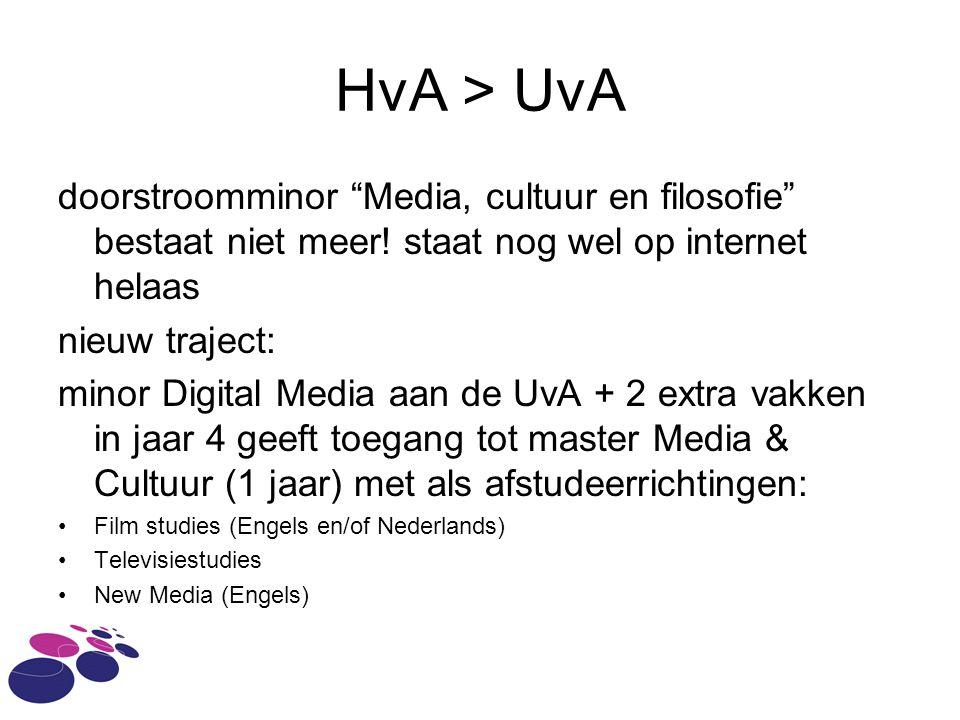 HvA > UvA doorstroomminor Media, cultuur en filosofie bestaat niet meer.