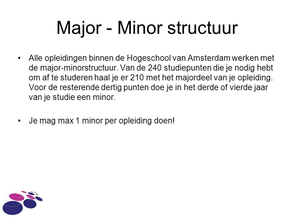 Major - Minor structuur Alle opleidingen binnen de Hogeschool van Amsterdam werken met de major-minorstructuur.