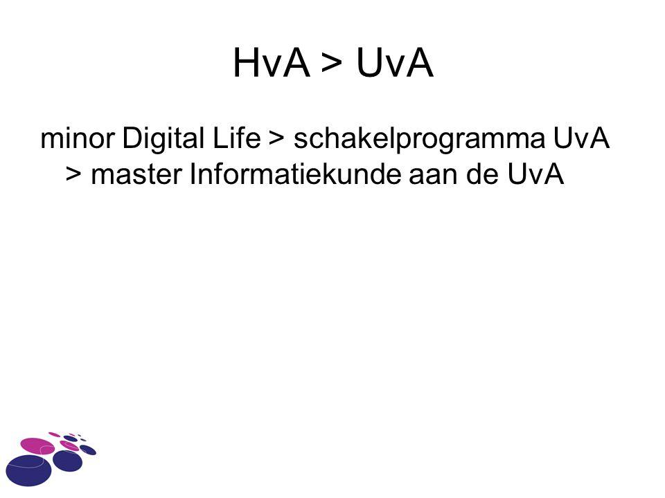 HvA > UvA minor Digital Life > schakelprogramma UvA > master Informatiekunde aan de UvA