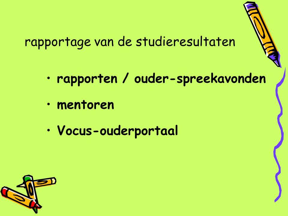 rapportage van de studieresultaten rapporten / ouder-spreekavonden mentoren Vocus-ouderportaal