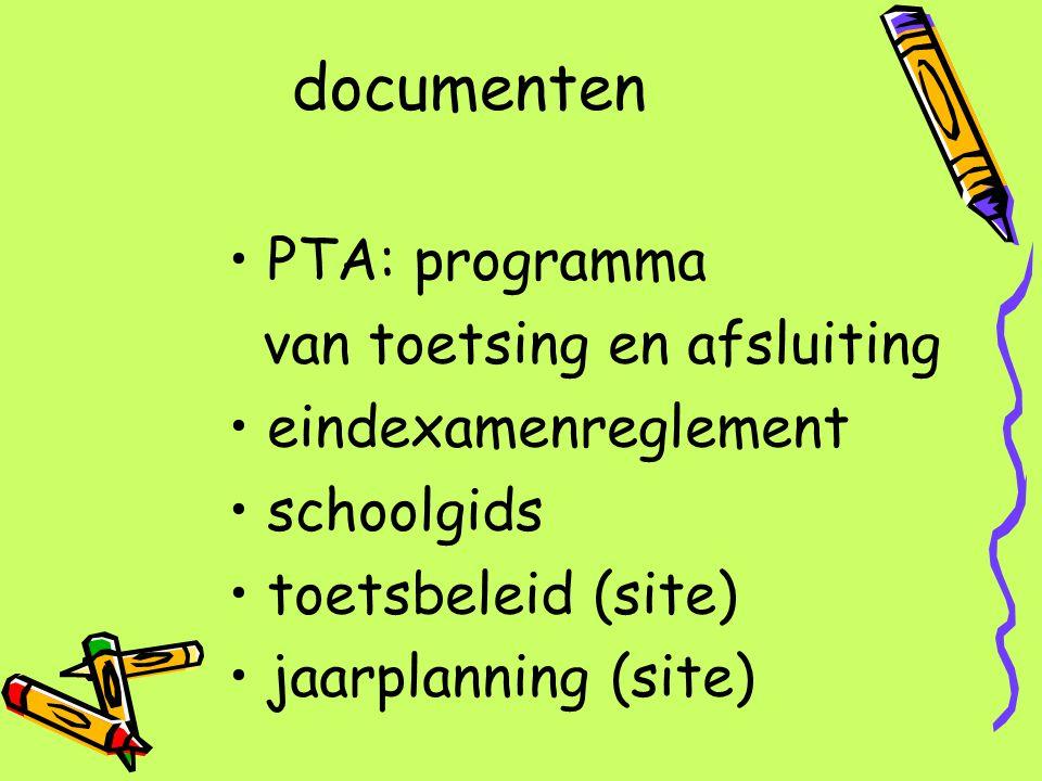documenten PTA: programma van toetsing en afsluiting eindexamenreglement schoolgids toetsbeleid (site) jaarplanning (site)