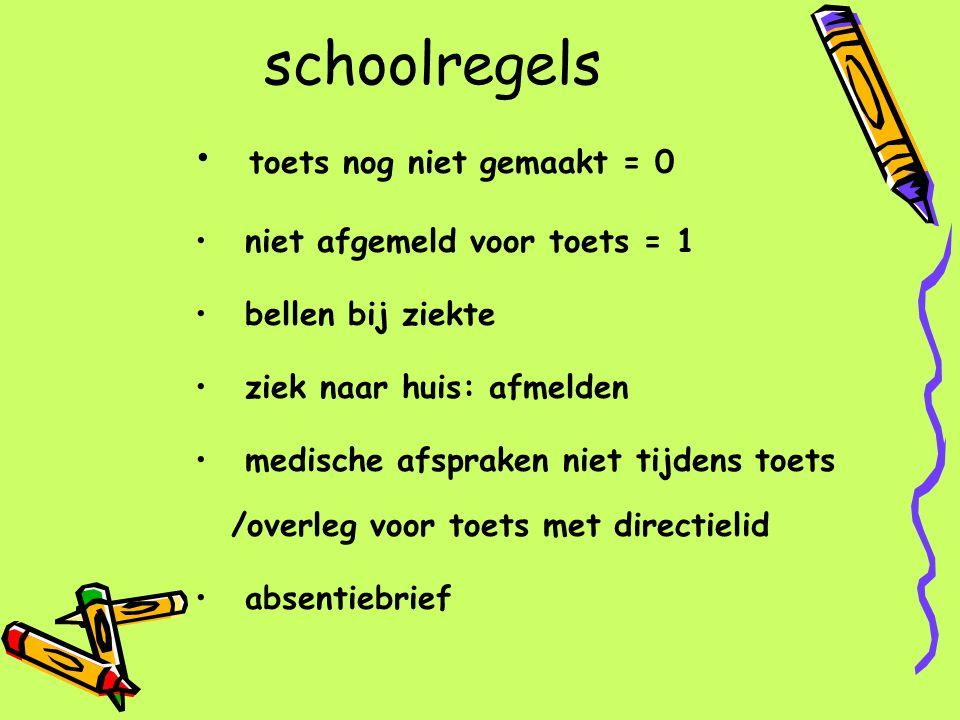 schoolregels toets nog niet gemaakt = 0 niet afgemeld voor toets = 1 bellen bij ziekte ziek naar huis: afmelden medische afspraken niet tijdens toets