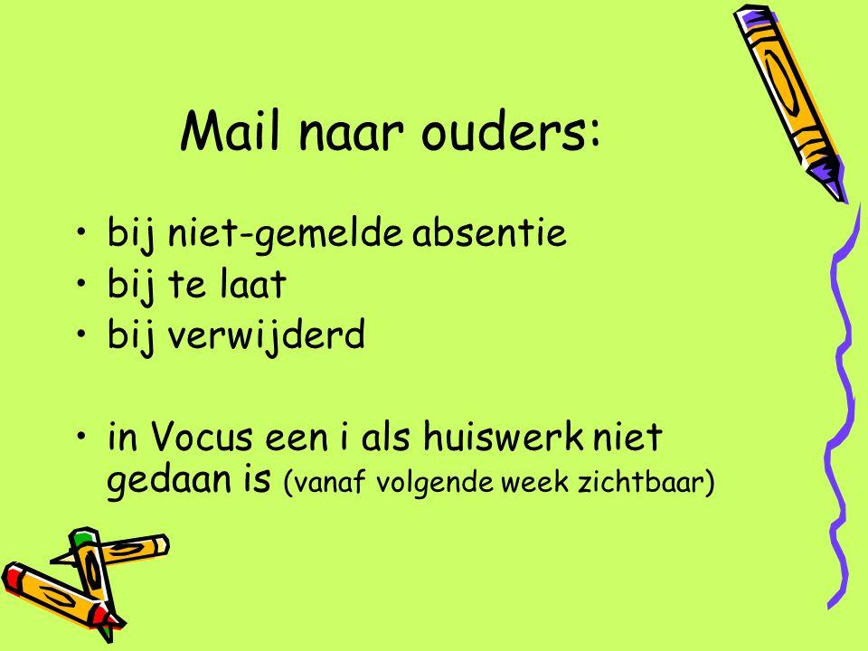 Mail naar ouders: bij niet-gemelde absentie bij te laat bij verwijderd in Vocus een i als huiswerk niet gedaan is (vanaf volgende week zichtbaar)