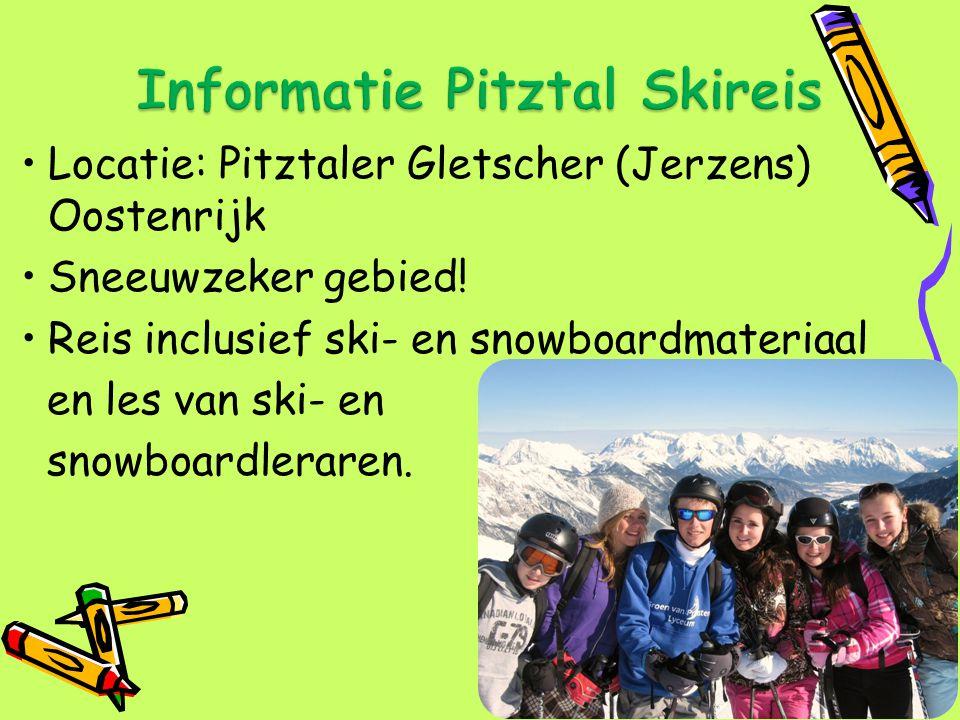 Locatie: Pitztaler Gletscher (Jerzens) Oostenrijk Sneeuwzeker gebied! Reis inclusief ski- en snowboardmateriaal en les van ski- en snowboardleraren.
