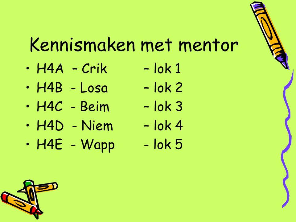 Kennismaken met mentor H4A – Crik – lok 1 H4B - Losa – lok 2 H4C - Beim – lok 3 H4D - Niem – lok 4 H4E - Wapp- lok 5