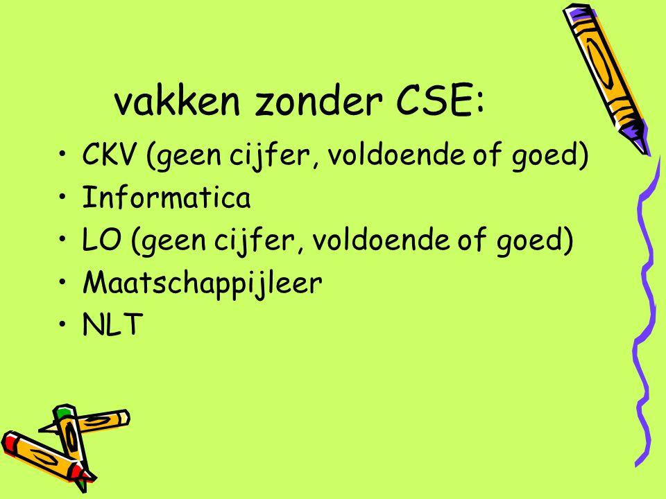 vakken zonder CSE: CKV (geen cijfer, voldoende of goed) Informatica LO (geen cijfer, voldoende of goed) Maatschappijleer NLT