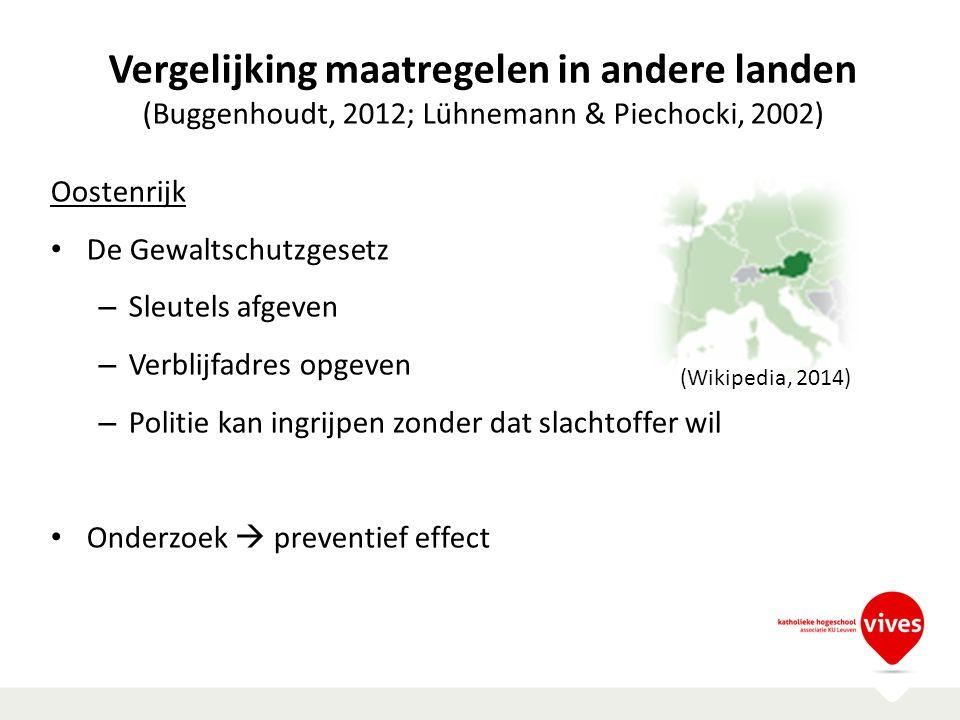 Vergelijking maatregelen in andere landen (Buggenhoudt, 2012; Lühnemann & Piechocki, 2002) Oostenrijk De Gewaltschutzgesetz – Sleutels afgeven – Verbl