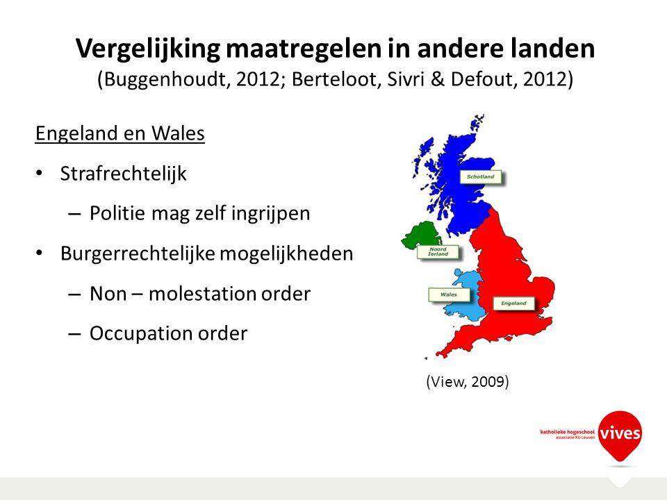 Vergelijking maatregelen in andere landen (Buggenhoudt, 2012; Berteloot, Sivri & Defout, 2012) Engeland en Wales Strafrechtelijk – Politie mag zelf in