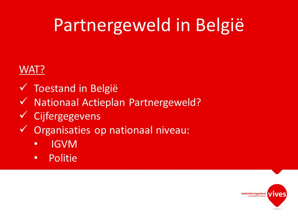 Partnergeweld in België WAT? Toestand in België Nationaal Actieplan Partnergeweld? Cijfergegevens Organisaties op nationaal niveau: IGVM Politie