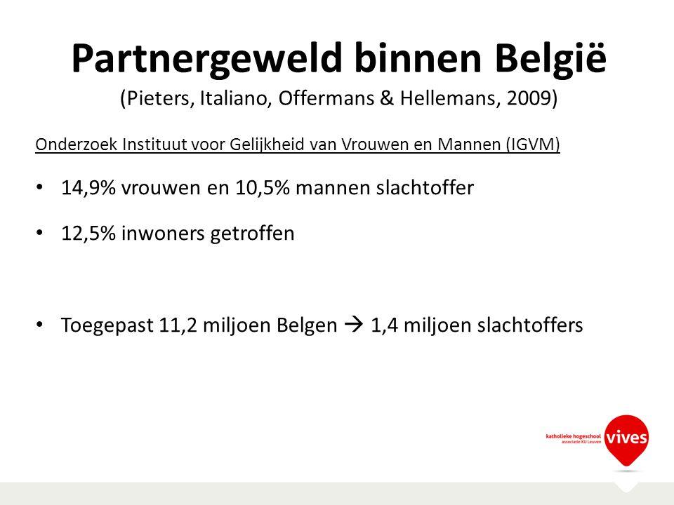 Partnergeweld binnen België (Pieters, Italiano, Offermans & Hellemans, 2009) Onderzoek Instituut voor Gelijkheid van Vrouwen en Mannen (IGVM) 14,9% vr