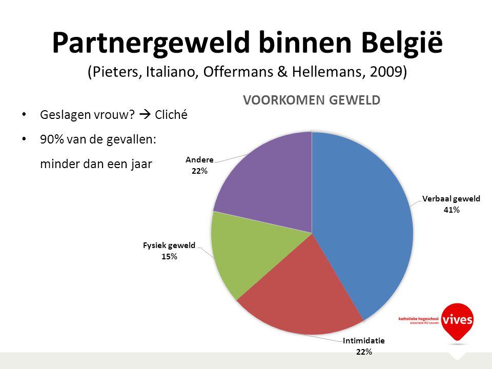 Partnergeweld binnen België (Pieters, Italiano, Offermans & Hellemans, 2009) Geslagen vrouw?  Cliché 90% van de gevallen: minder dan een jaar