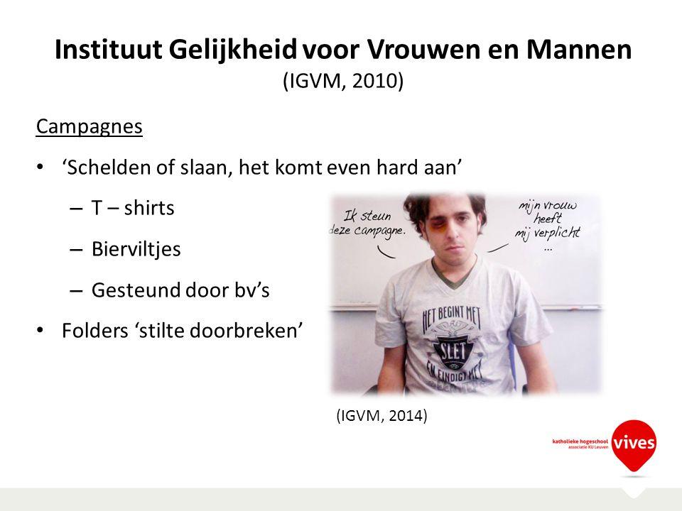 Instituut Gelijkheid voor Vrouwen en Mannen (IGVM, 2010) Campagnes 'Schelden of slaan, het komt even hard aan' – T – shirts – Bierviltjes – Gesteund d