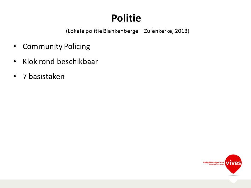Community Policing Klok rond beschikbaar 7 basistaken (Lokale politie Blankenberge – Zuienkerke, 2013) Politie