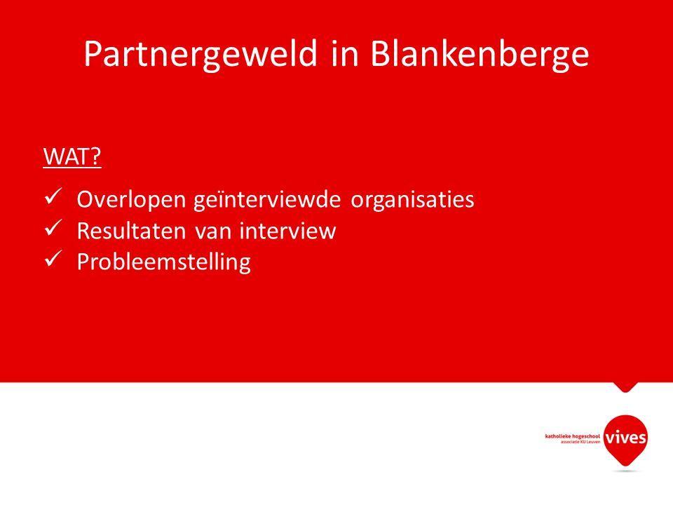 Partnergeweld in Blankenberge WAT? Overlopen geïnterviewde organisaties Resultaten van interview Probleemstelling