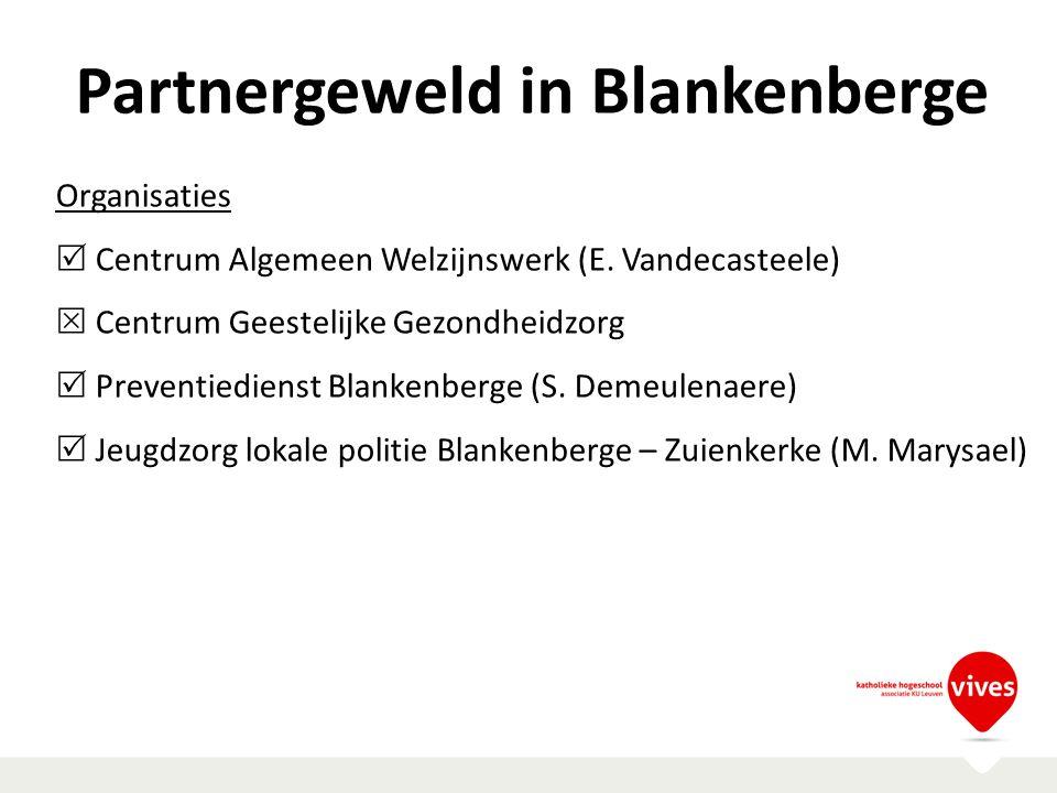 Partnergeweld in Blankenberge Organisaties  Centrum Algemeen Welzijnswerk (E. Vandecasteele)  Centrum Geestelijke Gezondheidzorg  Preventiedienst B