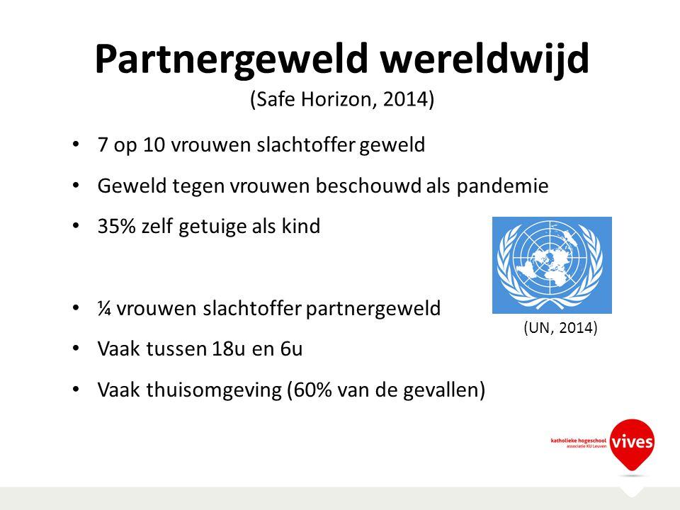 Partnergeweld wereldwijd (Safe Horizon, 2014) 7 op 10 vrouwen slachtoffer geweld Geweld tegen vrouwen beschouwd als pandemie 35% zelf getuige als kind