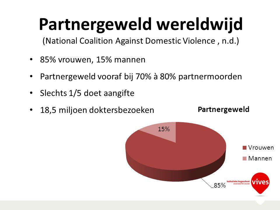 Partnergeweld wereldwijd (National Coalition Against Domestic Violence, n.d.) 85% vrouwen, 15% mannen Partnergeweld vooraf bij 70% à 80% partnermoorde