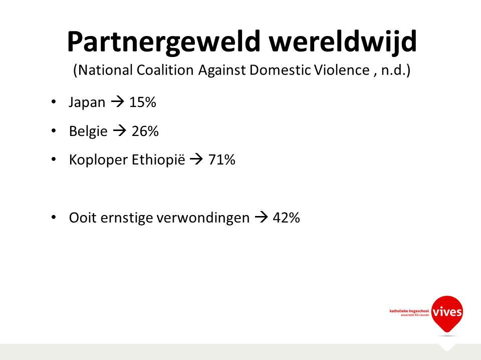 Partnergeweld wereldwijd (National Coalition Against Domestic Violence, n.d.) Japan  15% Belgie  26% Koploper Ethiopië  71% Ooit ernstige verwondin