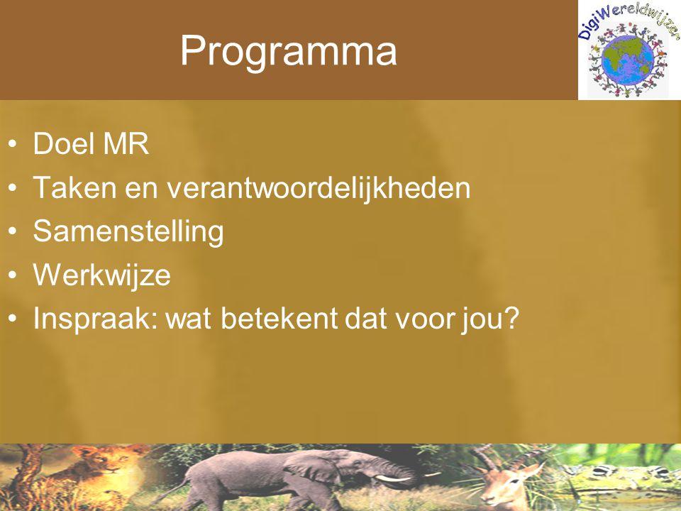 Programma Doel MR Taken en verantwoordelijkheden Samenstelling Werkwijze Inspraak: wat betekent dat voor jou