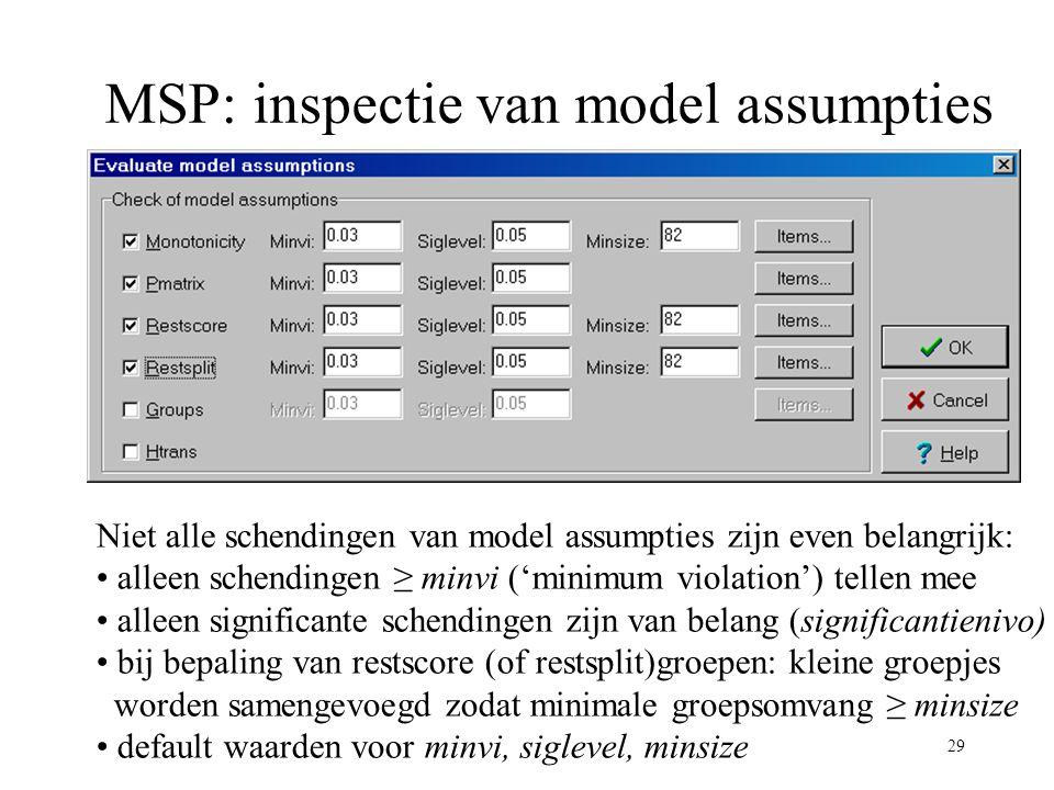 29 MSP: inspectie van model assumpties Niet alle schendingen van model assumpties zijn even belangrijk: alleen schendingen ≥ minvi ('minimum violation