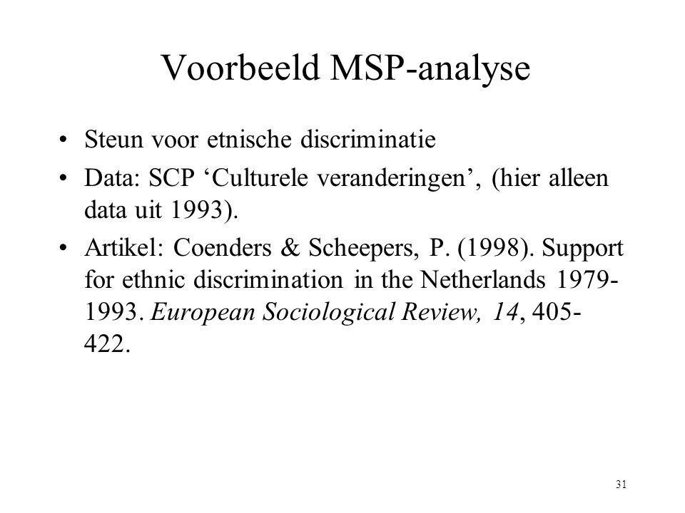 31 Voorbeeld MSP-analyse Steun voor etnische discriminatie Data: SCP 'Culturele veranderingen', (hier alleen data uit 1993). Artikel: Coenders & Schee