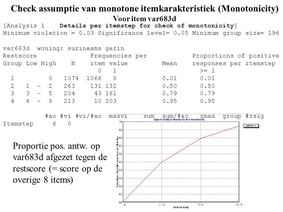 37 Check assumptie van monotone itemkarakteristiek (Monotonicity) Voor item var683d Proportie pos. antw. op var683d afgezet tegen de restscore (= scor