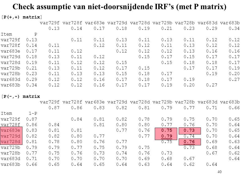 40 Check assumptie van niet-doorsnijdende IRF's (met P matrix) [P(+,+) matrix] var729f var728f var683e var729d var728d var729b var728b var683d var683b