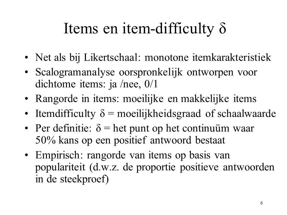 6 Items en item-difficulty δ Net als bij Likertschaal: monotone itemkarakteristiek Scalogramanalyse oorspronkelijk ontworpen voor dichtome items: ja /