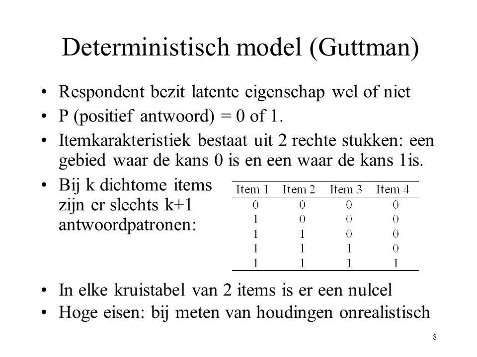 8 Deterministisch model (Guttman) Respondent bezit latente eigenschap wel of niet P (positief antwoord) = 0 of 1. Itemkarakteristiek bestaat uit 2 rec