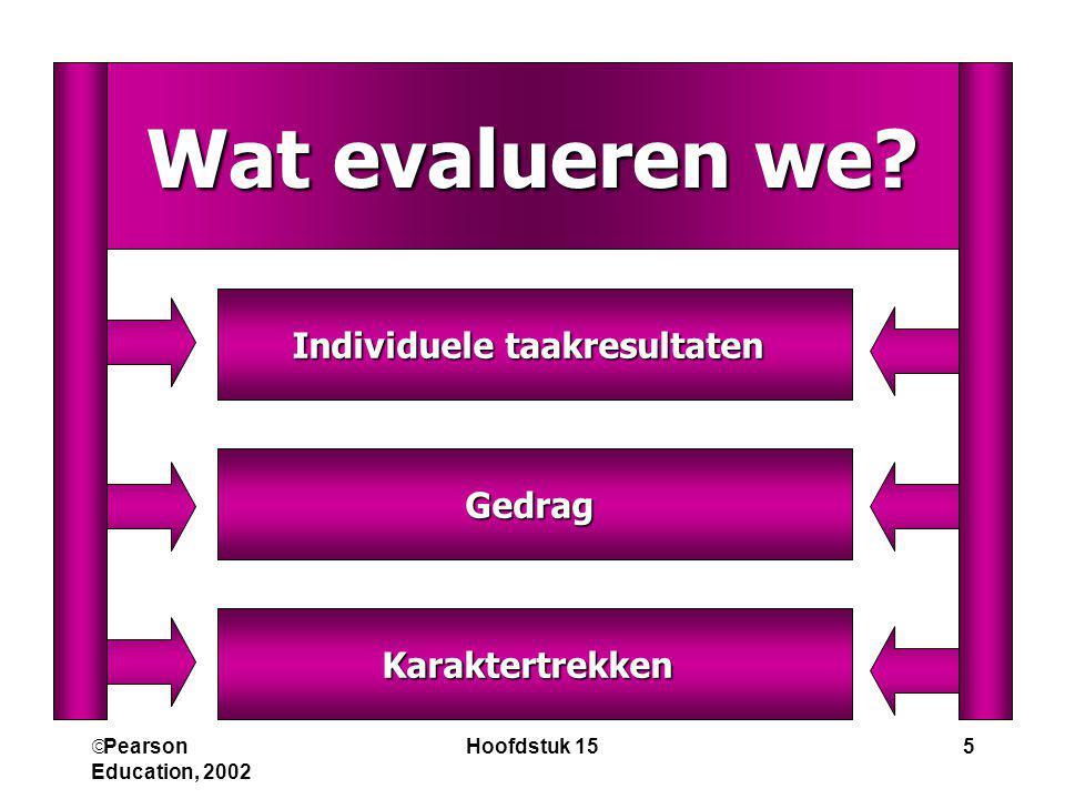  Pearson Education, 2002 Hoofdstuk 155 Karaktertrekken Gedrag Individuele taakresultaten Wat evalueren we?