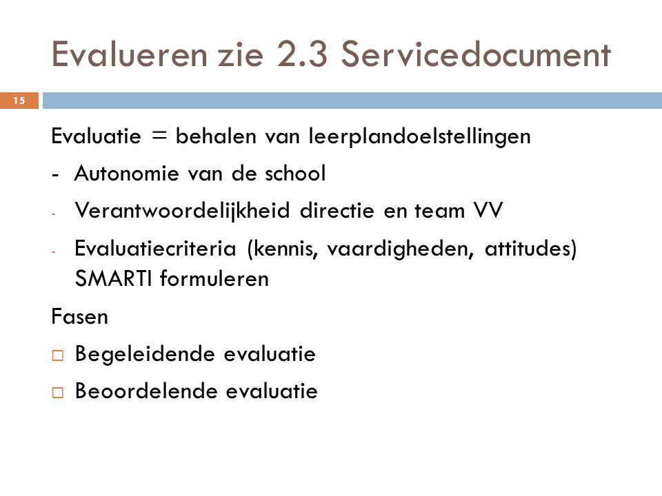 Evalueren zie 2.3 Servicedocument 15 Evaluatie = behalen van leerplandoelstellingen - Autonomie van de school - Verantwoordelijkheid directie en team VV - Evaluatiecriteria (kennis, vaardigheden, attitudes) SMARTI formuleren Fasen  Begeleidende evaluatie  Beoordelende evaluatie
