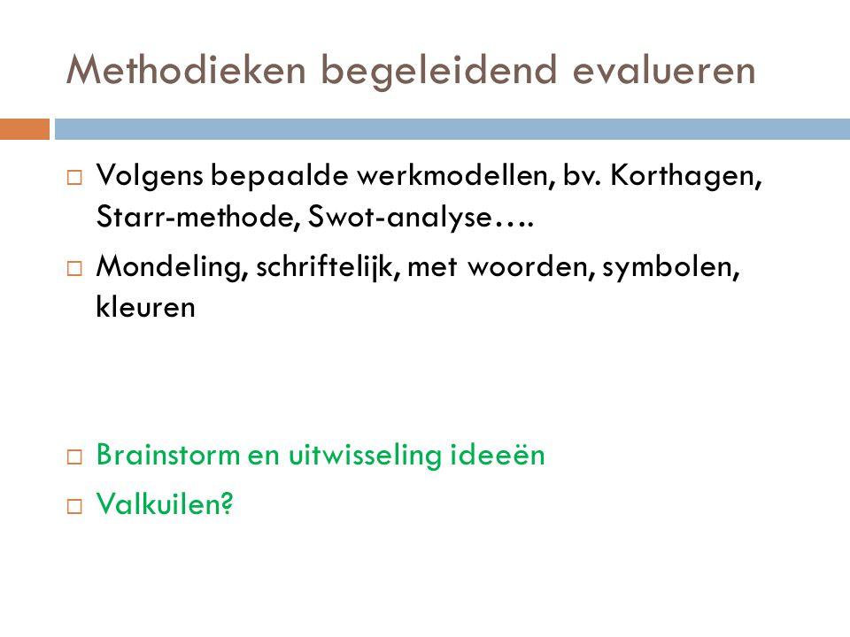 Methodieken begeleidend evalueren  Volgens bepaalde werkmodellen, bv.