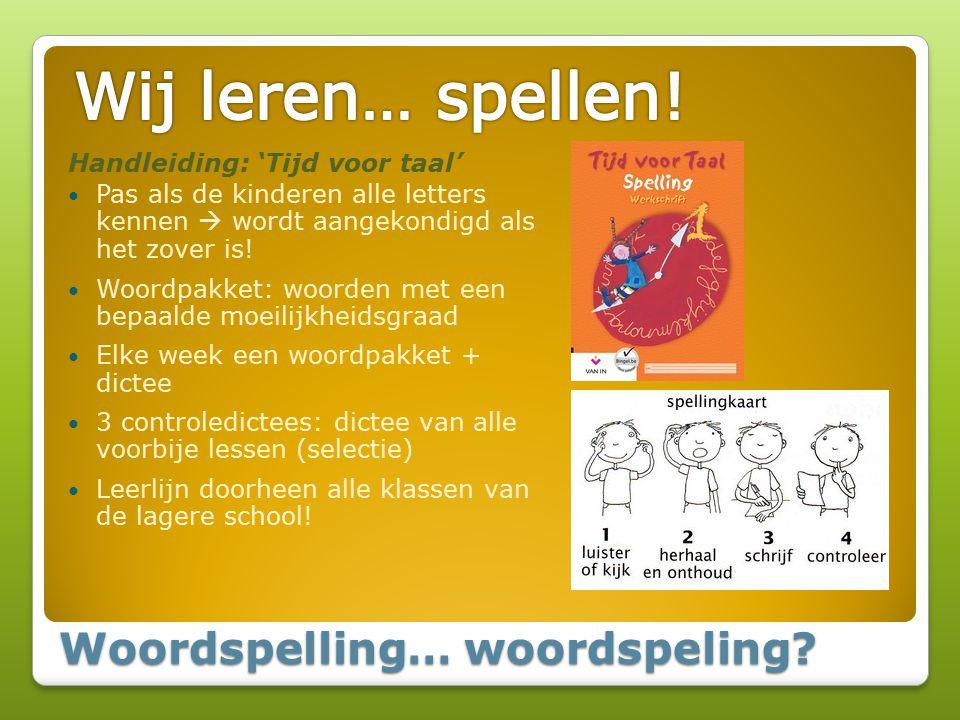 Woordspelling… woordspeling? Handleiding: 'Tijd voor taal' Pas als de kinderen alle letters kennen  wordt aangekondigd als het zover is! Woordpakket: