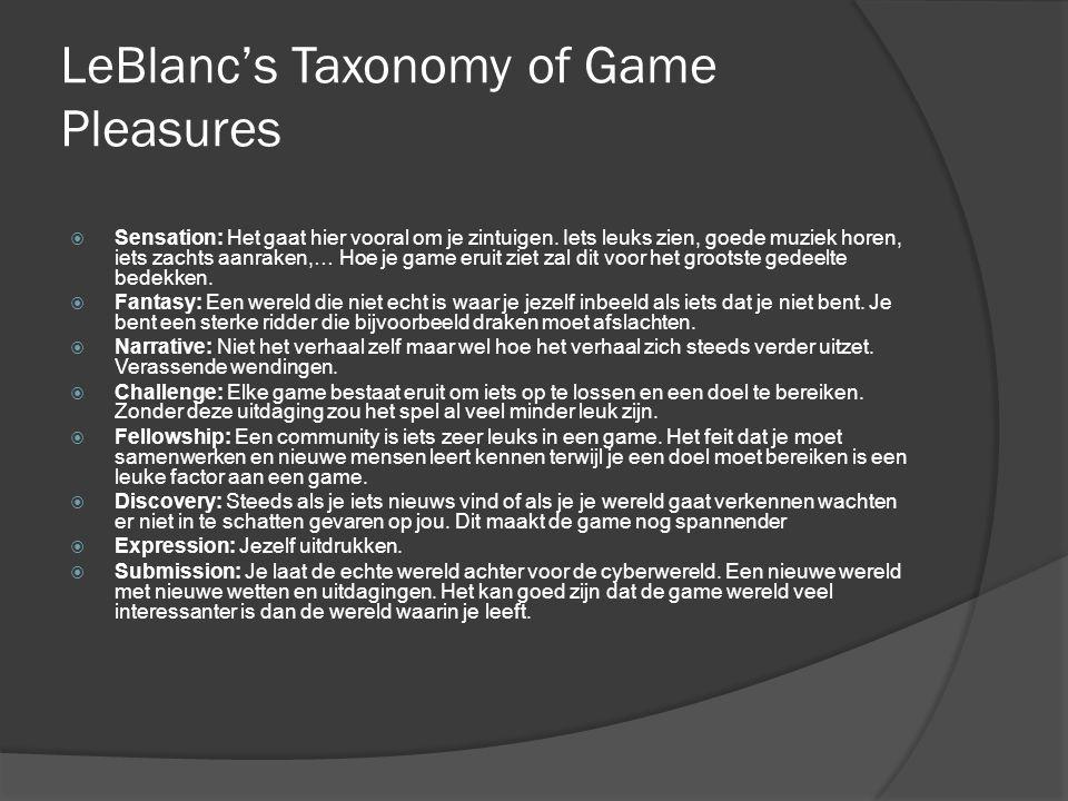 LeBlanc's Taxonomy of Game Pleasures  Sensation: Het gaat hier vooral om je zintuigen.