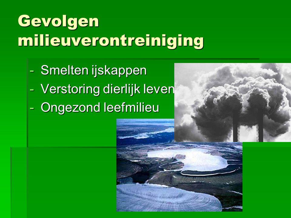 Gevolgen milieuverontreiniging -Smelten ijskappen -Verstoring dierlijk leven -Ongezond leefmilieu