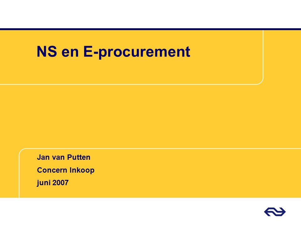 Jan van Putten Concern Inkoop NS Drie simpele eisen Tenminste vier potentiële leveranciers Tenminste € 200.000 opdrachtwaarde Heldere eenduidige specificaties !!