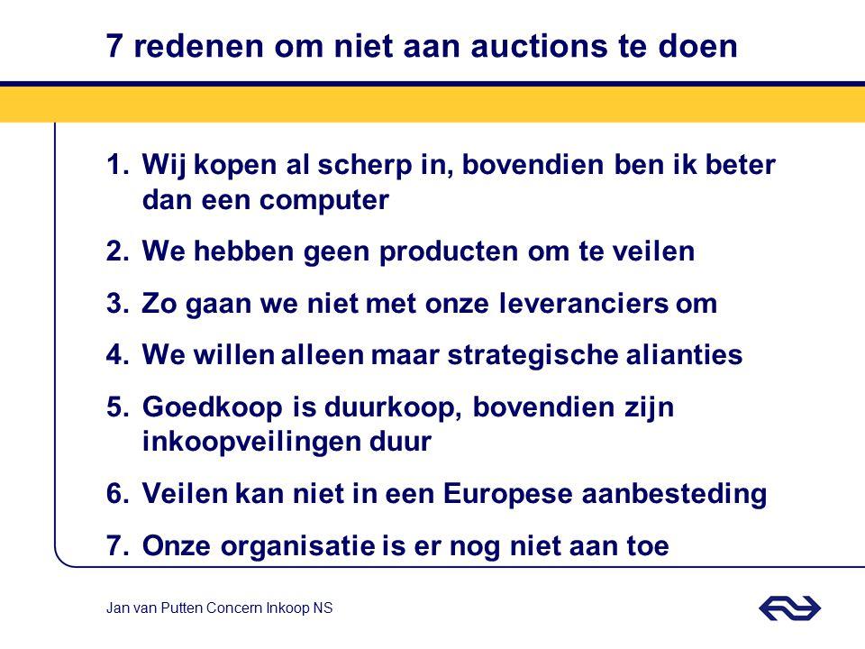 Jan van Putten Concern Inkoop NS Drie simpele eisen Tenminste vier potentiële leveranciers Tenminste € 200.000 opdrachtwaarde Heldere eenduidige speci