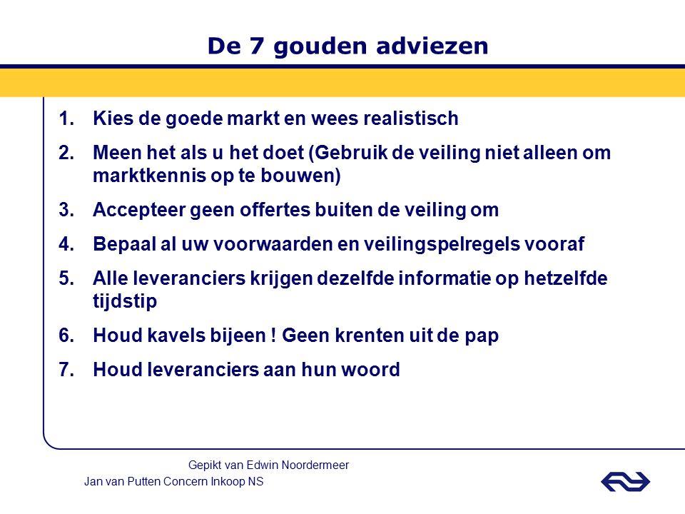 Jan van Putten Concern Inkoop NS 7 redenen om juist wel aan auctions te doen De software werkt met bewezen resultaten Dwang voor een ieder om huiswerk